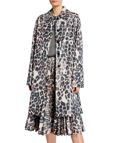 Animal-Print Balmacaan-Like Coat