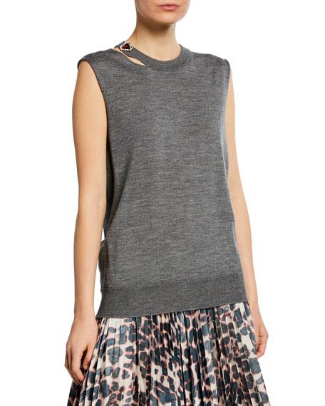 CALVIN KLEIN 205W39NYC Sleeveless Slash-Neck Sweater