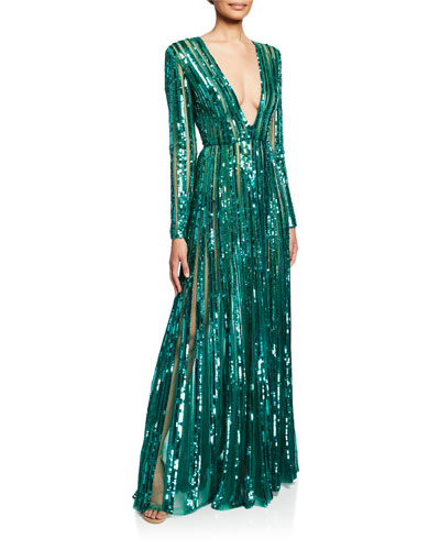 Sequin V-Neck Long-Sleeve Semisheer Gown