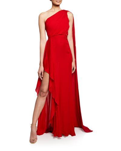 One-Shoulder Scarf-Back Silk Gown