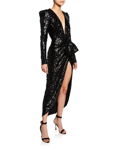 Sequined Plunging Strong-Shoulder Gown