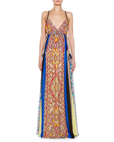 Pacific Print Silk Georgette Gown