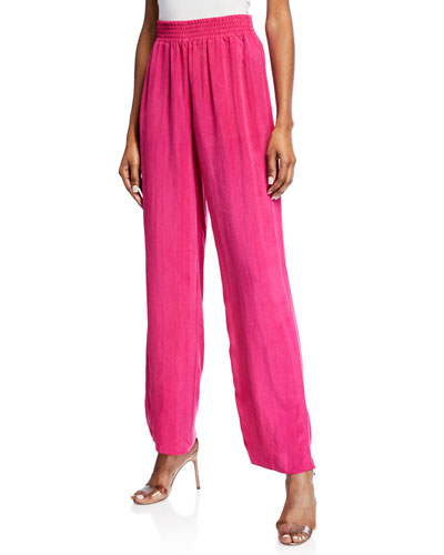 Wide-Leg Cupro Pants