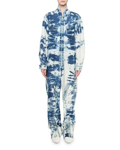 Long-Sleeve Tie-Dye Denim Jumpsuit