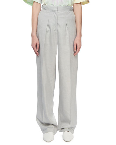 Linen Button-Tab Pants