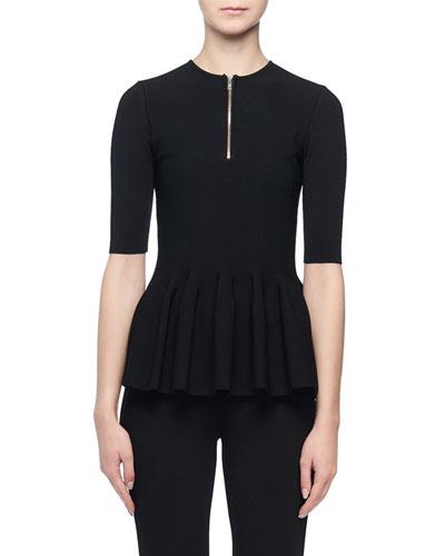 Short-Sleeve Zip-Front Peplum Top