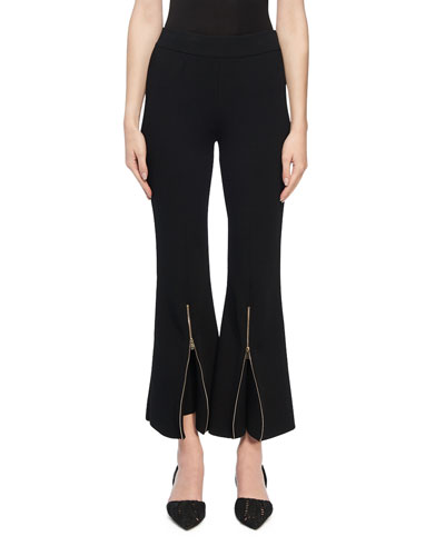 Knit Zip-Flare Trousers