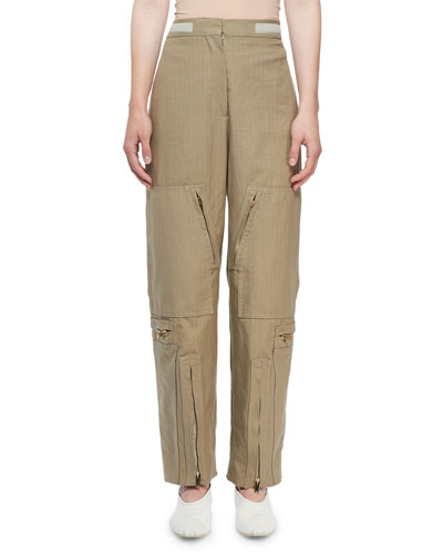 Washed Herringbone Cotton Modified Cargo Pants