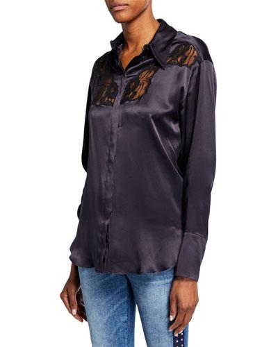 Silk Lace-Yoked Western Blouse