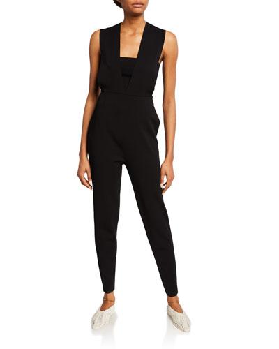 Sleeveless Knit Crisscross Jumpsuit