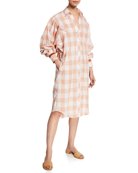 Johanna Ortiz Seasonal Shades Plaid 1/2-Sleeve Shirtdress