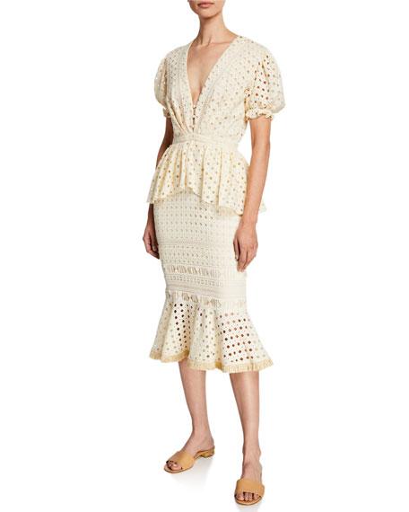 Johanna Ortiz Dresses LOVERS BRIDGE SHORT-SLEEVE COTTON EYELET DRESS