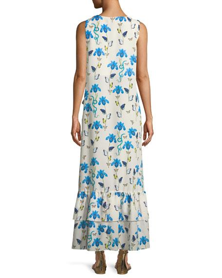 V-Neck Sleeveless Butterfly & Iris-Print Maxi Dress