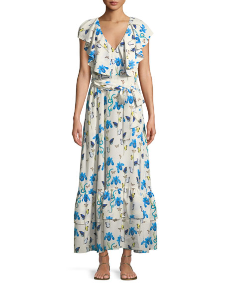 V-Neck Sleeveless Butterfly & Iris-Print Maxi Dress