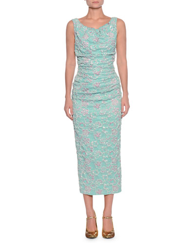 Boat-Neck Sleeveless Ruched-Waist Metallic Cloque Midi Dress