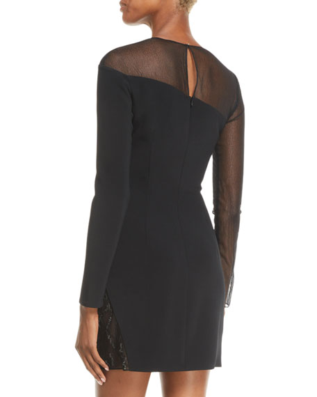 Fragmented-Curve Embellished Long-Sleeve Short Cocktail Dress