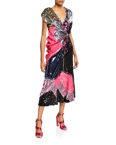 Colorblock Sequin Cap-Sleeve Cocktail Dress