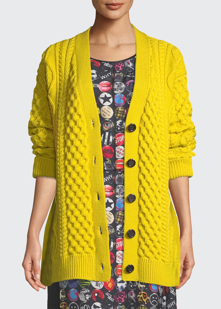 43e8ec5b5458ff Marc Jacobs Button-Front Chunky Cable-Knit Merino Wool Cardigan