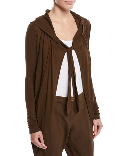 Tie-Front Hooded Draped Cardigan