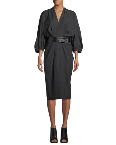 Full-Sleeve Cotton Poplin Midi Wrap Dress