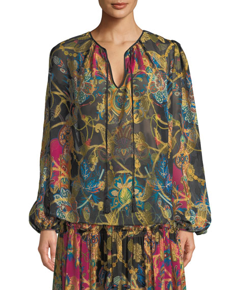 Etro Tie-Neck Long-Sleeve Paisley-Print Silk Peasant Blouse