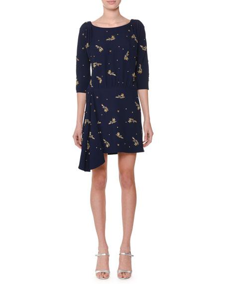 Boat-Neck 3/4-Sleeve Embellished Cocktail Dress