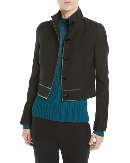 Narciso Rodriguez VIRGIN WOOL BUTTON-FRONT CROPPED JACKET W/ LAMBSKIN TRIM