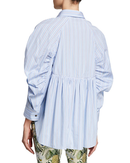 Ruched-Sleeve Button-Front Top