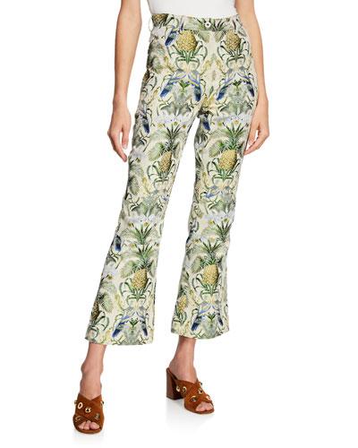 Cloque Pineapple Flare-Leg Pants