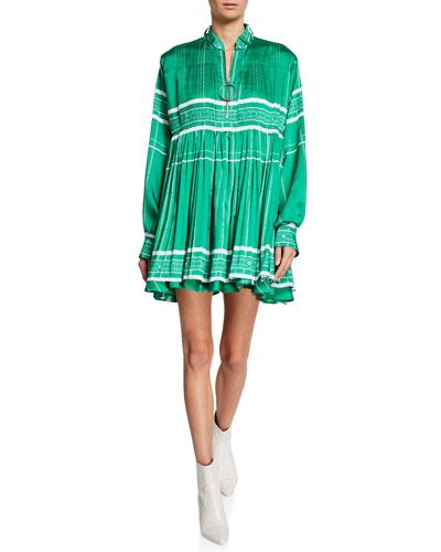 High-Neck Zip-Front Mini Dress