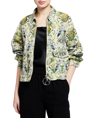 Collared Zip-Front Pineapple Motif Jacket