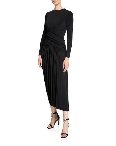 Long-Sleeve Fluid Jersey Evening Gown