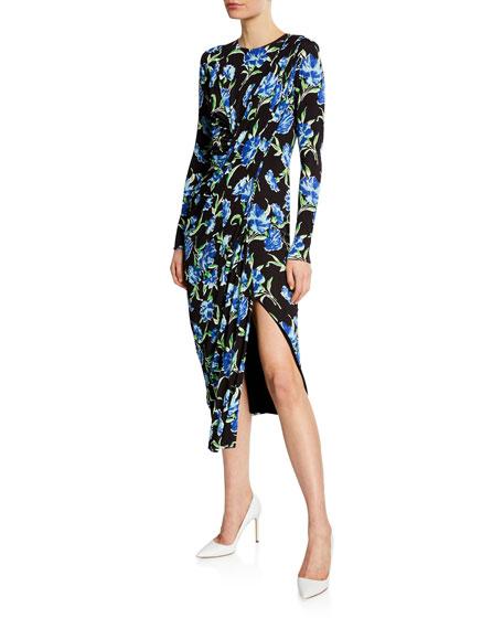 Long-Sleeve Floral Draped Jersey Dress