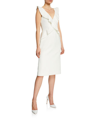 Compact Crepe V-Neck Sleeveless Ruffle-Trim Dress
