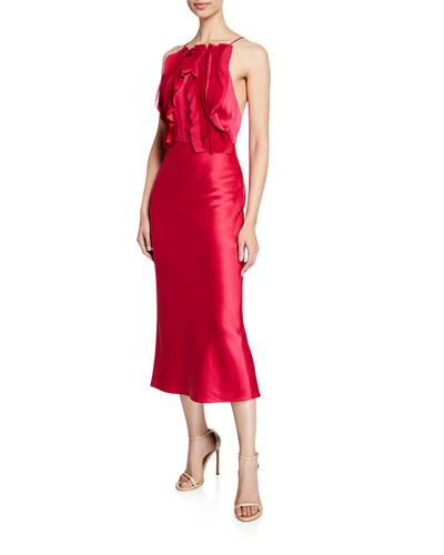 Satin Crepe-Back Ribbon-Trim Cocktail Dress