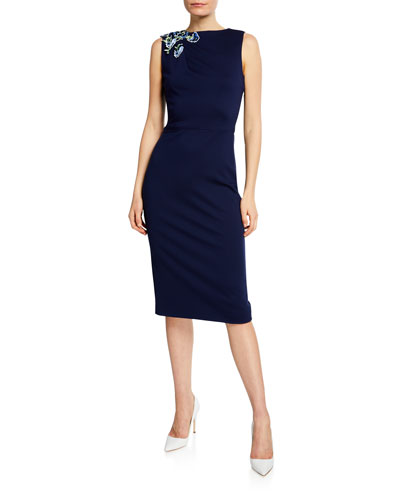 Jersey Embellished Sleeveless Sheath Dress