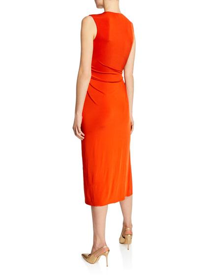 V-Neck Draped Fluid Jersey Dress