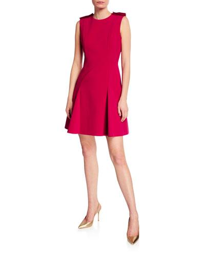 Stretch Crepe Godet Mini Dress