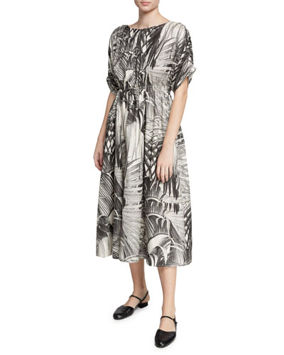 Palm Leaf-Print Short-Sleeve Dress