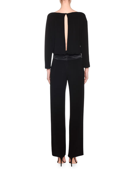 Long-Sleeve Satin-Waist Straight Leg Jumpsuit