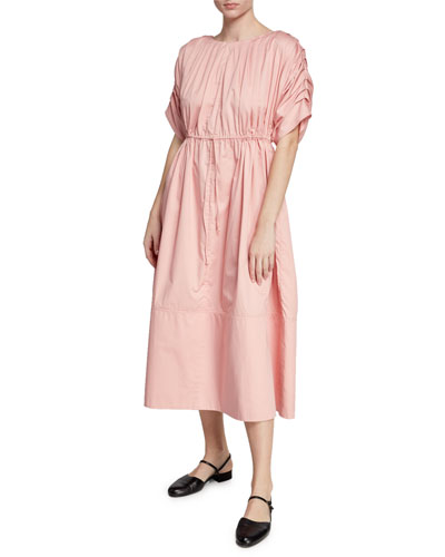 Origami Short-Sleeve Cotton Dress