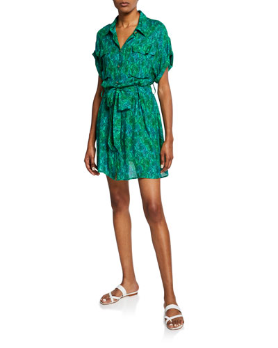 Tarabel Tie-Waist Safari Dress