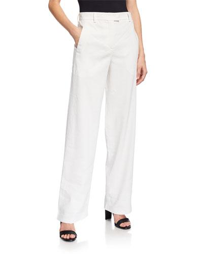Wide-Leg Linen Blend Pants
