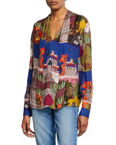 Camel Tie-Neck Scarf Print Shirt