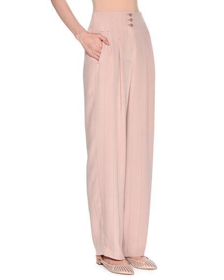 Wide-Leg Pinstriped Silk Crepe Pants