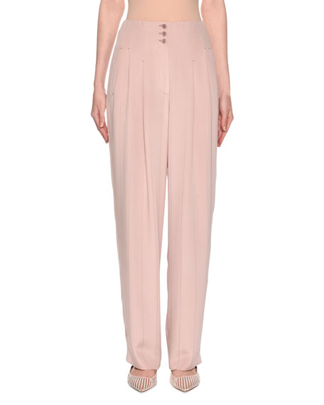 2ca32be558 Wide-Leg Pinstriped Silk Crepe Pants