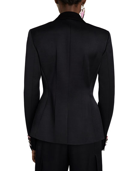 Embellished Jewel Button Satin Jacket