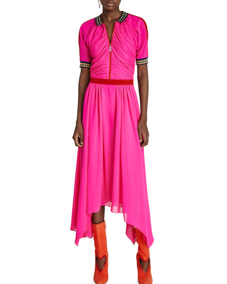 Shocking Draped Half-Zip Midi Dress