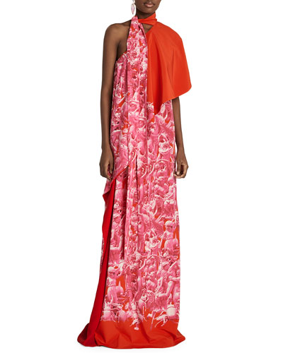 Printed Asymmetric Long Dress