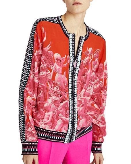 Pink Victory Silk Bomber Jacket
